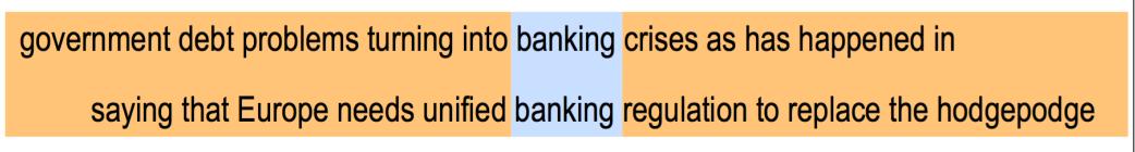 banking附近的词将会代表banking的含义